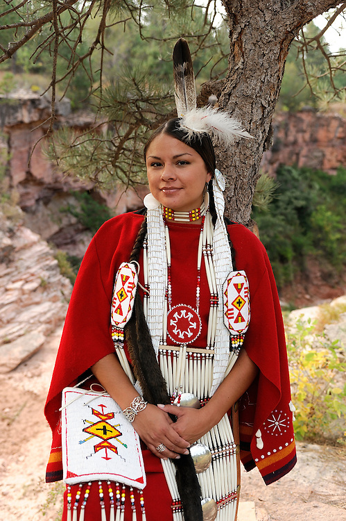 Terra Houska, Traditional Dress, Lakota, Native American Indian, Black