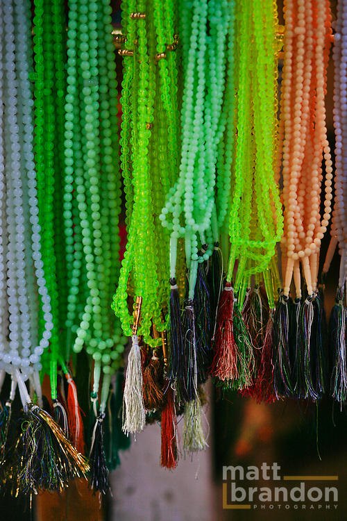 Prayer beads hang at a shop in Nizamuddin.