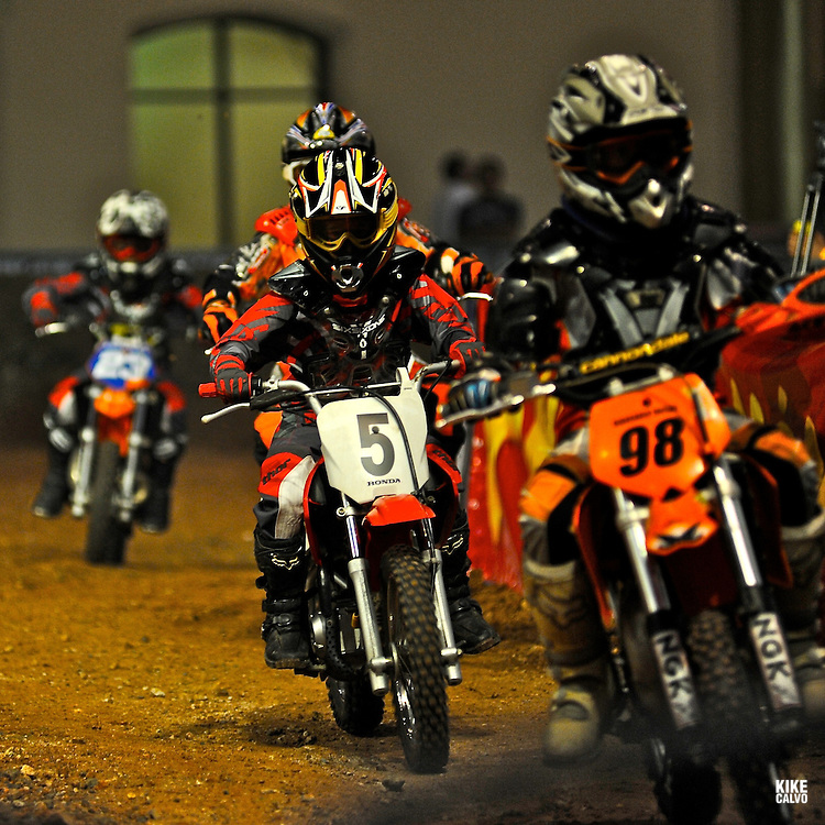 X-Knights, first event of the 2009 freestyle FMX International Cup at Figali Convention Center.Children motocross races at the Panamanian X-Knights FMX competition.
