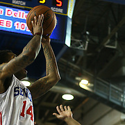 Delaware 87ers Guard Vander Blue (14) drives towards the basket in the first half of an NBA D-league regular season basketball game between the Delaware 87ers (76ers) and the Maine Red Claws (Boston Celtics) Tuesday, Feb. 4, 2014 at The Bob Carpenter Sports Convocation Center, Newark, DE