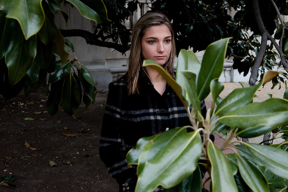 Hannah Perryman, 17, who was stalked by a neighbor for six years, poses for a portrait outside the U.S. Department of Justice on Monday, January 17, 2011 in Washington, DC.