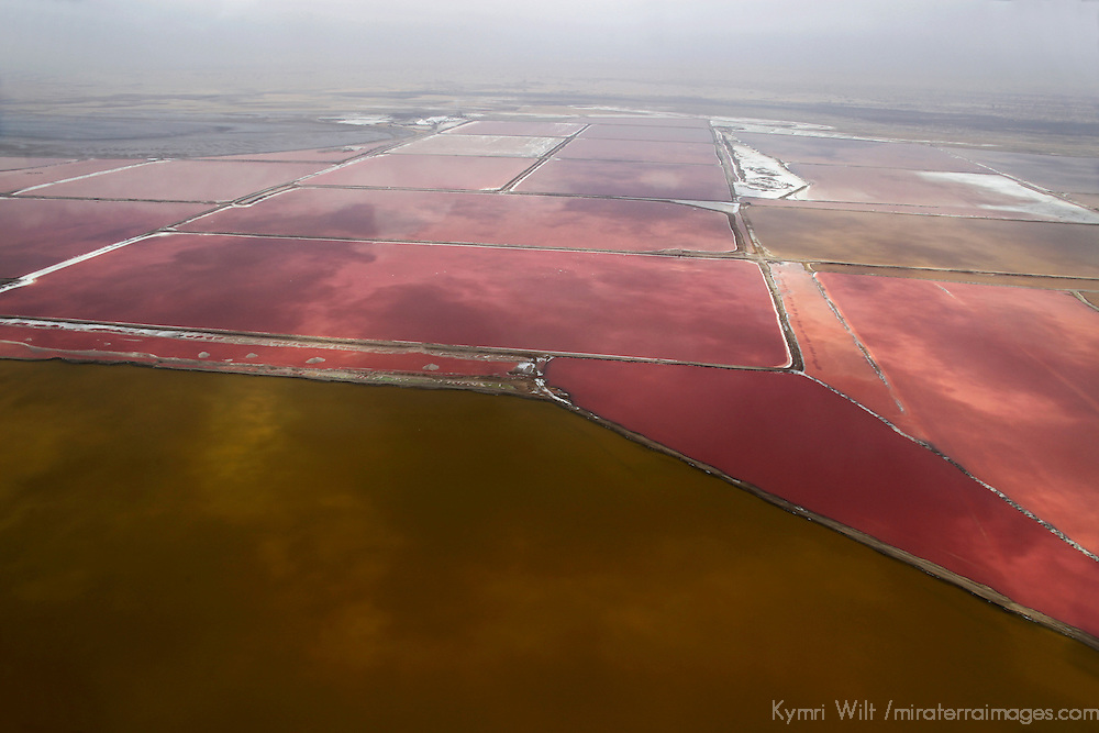 Africa, Namibia, Walvis Bay. Aerial view of salt pans and refinery in Walvis Bay.