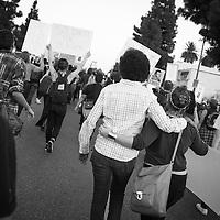 "Black and White protesters together on the streets of Los Angeles demonstrating against the decision in Ferguson, Missouri to not indict police officer in the shooting death of unarmed, black teenager Mike Brown. These Photographs And More Are Available in Color. Please Search for ""Ferguson"""
