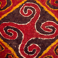 This fine felt rug is a good example of a 20th century Tekemet, as they are called in Kazakh.  It was made in southern Kazakhstan by Bibi Romanova, Kasteyev Museum of Fine Arts, Almaty, Kazakhstan.
