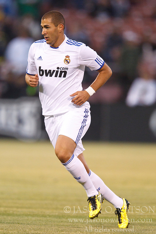 August 4, 2010; San Francisco, CA, USA;  Real Madrid forward Karim Benzema (9) during the first half against Club America at Candlestick Park. Real Madrid defeated Club America 3-2.