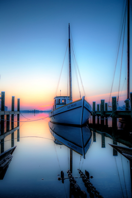 Sunrise at the dock at St Michaels Maryland