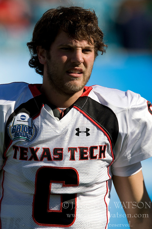 Texas Tech quarterback Graham Harrell (6) before the start of the Gator Bowl.  The Texas Tech Red Raiders defeated the Virginia Cavaliers 31-28 in the 2008 Konica Menolta Gator Bowl held at the Jacksonville Municipal Stadium in Jacksonville, FL on January 1, 2008.