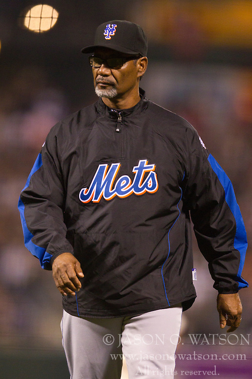 July 15, 2010; San Francisco, CA, USA;  New York Mets manager Jerry Manuel (53) during the eighth inning against the San Francisco Giants at AT&T Park.