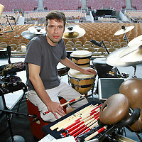 David Cossin during sound check with Sting at Jones Beach on July 27, 2010. .Photo Credit; Rahav / Photopass.com