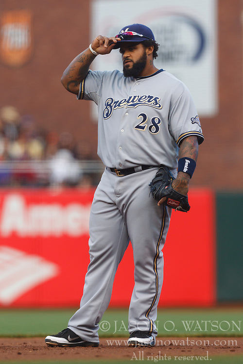 July 23, 2011; San Francisco, CA, USA;  Milwaukee Brewers first baseman Prince Fielder (28) stands next to first base against the San Francisco Giants during the third inning at AT&T Park. San Francisco defeated Milwaukee 4-2.