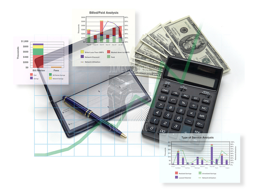 financial analysis; checks, graphs, money, calculator