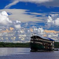 South America, Peru, Amazon. Boat on the Amazon, Peru.