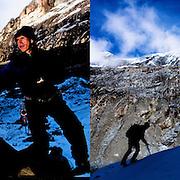 Peruvian mountain guide Juan Morales shares a loaf of bread with his friend Carlos Callupe as they  trek the White Mountain range  near Huaraz, Peru, Saturday, Jan. 15, 2011.(Photo Dado Galdieri)