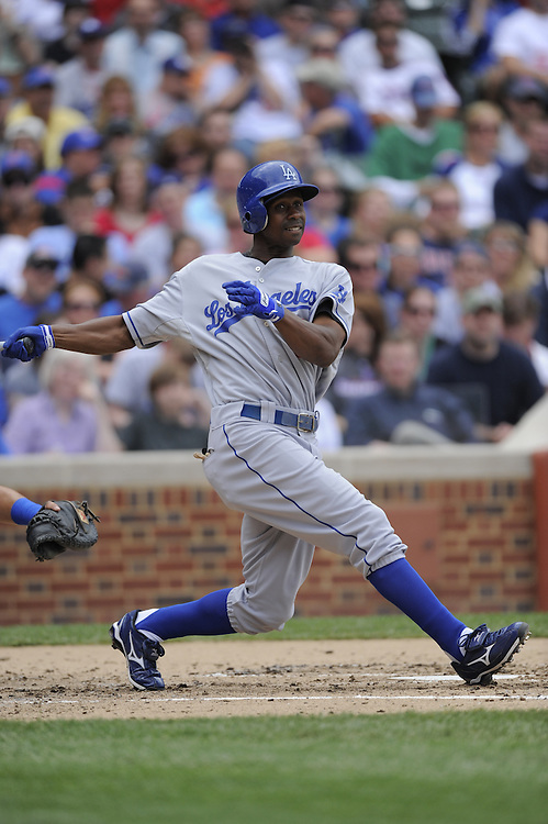 CHICAGO - MAY 30:  Juan Pierre #9 of the Los Angeles Dodgers bats against the Chicago Cubs on May 30, 2009 at Wrigley Field in Chicago, Illinois.  The Cubs defeated the Dodgers 7-0. (Photo by Ron Vesely)