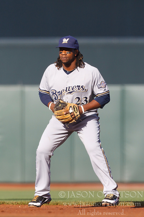 July 23, 2011; San Francisco, CA, USA;  Milwaukee Brewers second baseman Rickie Weeks (23) stands next to second base against the San Francisco Giants during the first inning at AT&T Park. San Francisco defeated Milwaukee 4-2.