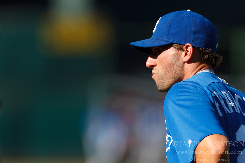 June 14, 2011; Oakland, CA, USA;  Kansas City Royals right fielder Jeff Francoeur (21) during batting practice before the game against the Oakland Athletics at Oakland-Alameda County Coliseum.  Kansas City defeated Oakland 7-4.