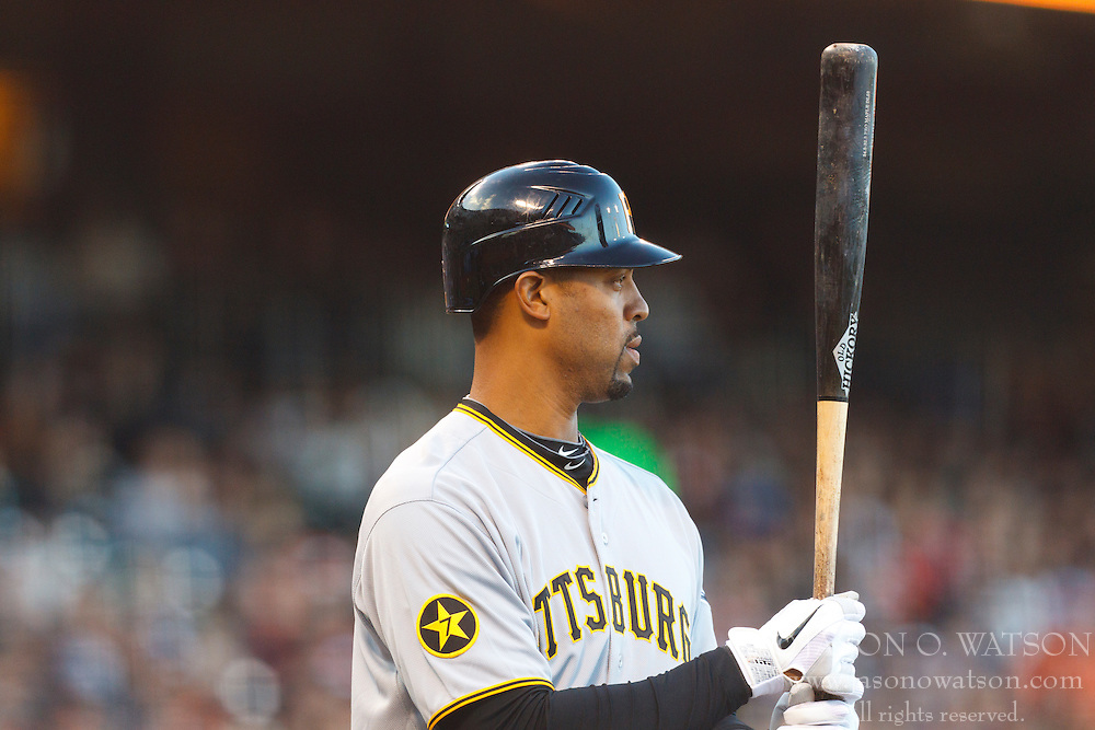 August 8, 2011; San Francisco, CA, USA;  Pittsburgh Pirates first baseman Derrek Lee (25) at bat against the San Francisco Giants during the first inning at AT&T Park. Pittsburgh defeated San Francisco 5-0.