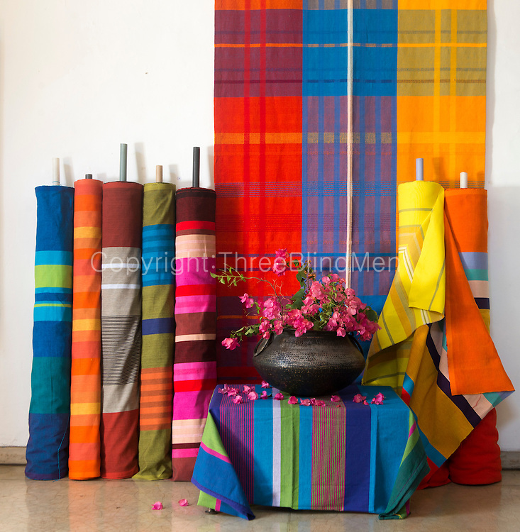 Hand woven fabric designed and woven by Barefoot Pvt Ltd.