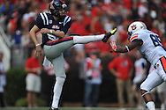 Ole Miss kicker Jim Broadway (82) vs. Auburn at Vaught-Hemingway Stadium in Oxford, Miss. on Saturday, October 13, 2012. (AP Photo/Oxford Eagle, Bruce Newman)..