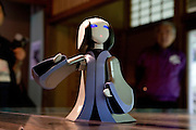 """A robot impersonating Lady Murasaki Shikibu is narrating the stories of """"The Tale of Genji"""" to visitors at Ishiyamadera Temple. The temple, located in Otsu City north of Kyoto, is the place where it is said that Lady Murasaki started writing the novel more than 1000 years ago."""