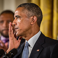 U.S. President Barack Obama wipes away tears as he speaks about the victims of the 2012 Sandy Hook Elementary School shooting and his efforts to improve federal gun control in the East Room of the White House in Washington, DC. January 5, 2016.
