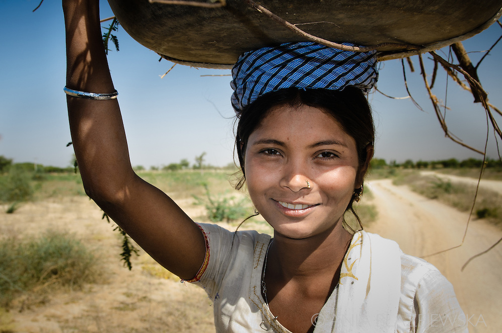 India, Rajasthan. Beautiful girl met in a local village.