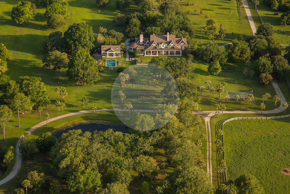 Aerial view of the Darby family estate along the marsh in Mt Pleasant, SC