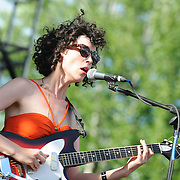 Annie Clark, aka St. Vincent, performs at the 2010 Pitchfork Music Festival in Chicago, IL.
