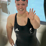 LONDON 2012 PARALYMPIC GAMES..PIC SHOWS ELLIE SIMMONDS AFTER WINNING GOLD ON SATURDAY EVENING SEPTEMBER 1ST... ParalympicsGB swimmer Ellie Simmonds has set a new world record of 5:19.17, as she took gold in the women's 400m Freestyle S6 final. The 17-year-old successfully defended the Paralympic title she took four years ago - at the age of 13 - in Beijing.
