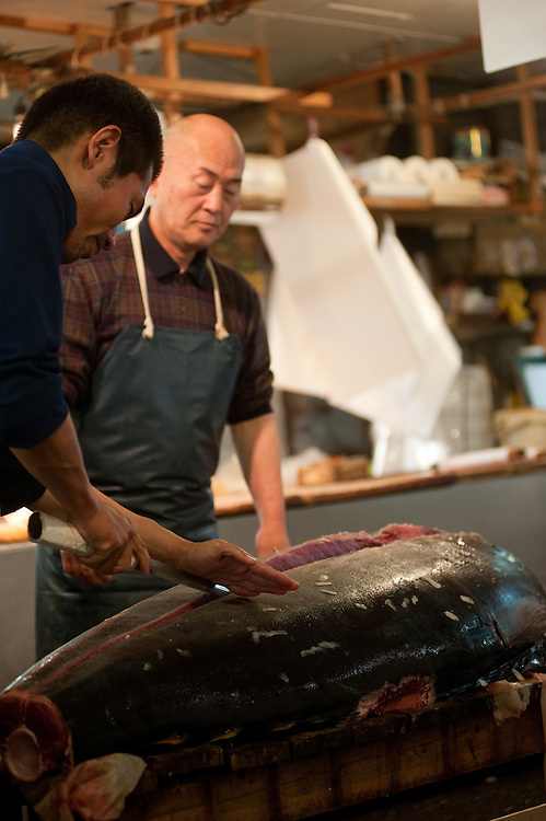 Taking apart fresh tuna with a maguro bocho (tuna knife), Tsukiji Fish Market, Tokyo, Japan