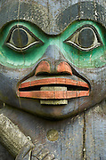 Close-up of totem pole figure of the Tlingit native American culture in Totem Park, Wrangell, Alaska.