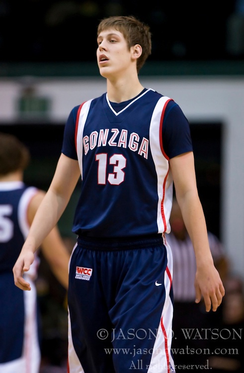 January 30, 2010; San Francisco, CA, USA;  Gonzaga Bulldogs guard/forward Kelly Olynyk (13) during the first half against the San Francisco Dons at the War Memorial Gym.  San Francisco defeated Gonzaga 81-77 in overtime.