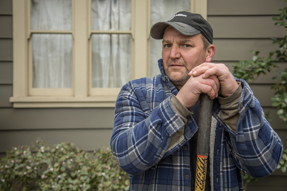 """I do maintenance for some of the smaller wineries...those who may not have a maintenance department.  Carpentry, welding, electrical...I do what ever is required.""  -Mike McKay replaces posts at a home on Cedar Street in Calistoga."
