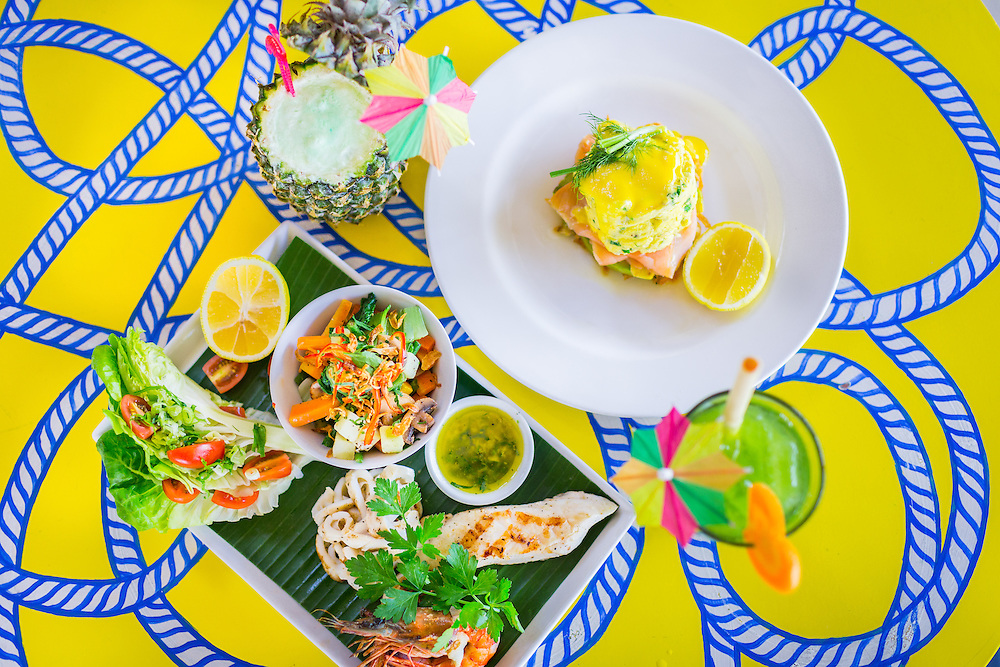 Seafood mixed grill: Snapper, Tiger Prawns, Calamari, garlic herb butter, asian vegetables &amp; white rice, Dill &amp; Chive soft scrambled eggs<br /> With smoked salmon, hollandaise, avocado, lemon on a crispy hash brown,<br /> <br /> Drinks: <br /> Coco-Colada<br /> Pinada colada bionically enhanced with coconut pandan gelato and Green Juice - Apple, spinach, cucumber.