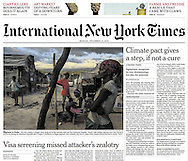 "THE INTERNATIONAL NEW YORK TIMES. A1. ""Forced to Flee Dominican Republic for Haiti, Migrants Land in Limbo"" by Azam Ahmed. December 14, 2015."