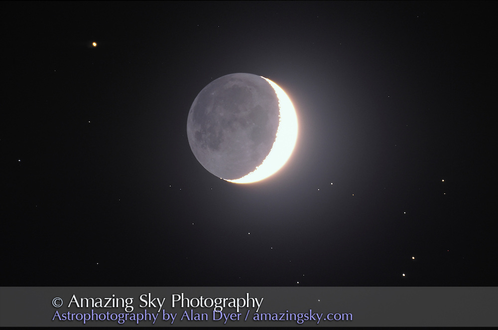 Waxing crescent Moon in Hyades star cluster, April 10, 1997<br /> <br /> 5-inch f/6 refractor <br /> Ektachrome 100 slide film