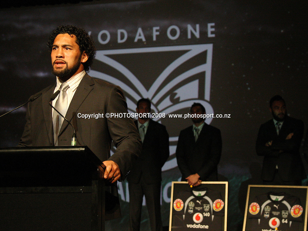 Ruben Wiki. Vodafone Warrior's annual awards, Sky City Convention Centre, Auckland. 16 September 2008. Photo: Andrew Cornaga/PHOTOSPORT