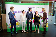 Queen Maxima of The Netherlands attends parent teaching evening on financial education at the Archipel school in Almere, The Netherlands, 14 April 2014. The evening is organized by platform Wijzer in Geldzaken, Queen Maxima is honorary president of the platform. COPYRIGHT ROBIN UTRECHT