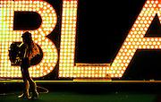 A Baltimore Blast cheerleader stands on the field before the MISL team's pregame festivities begin.