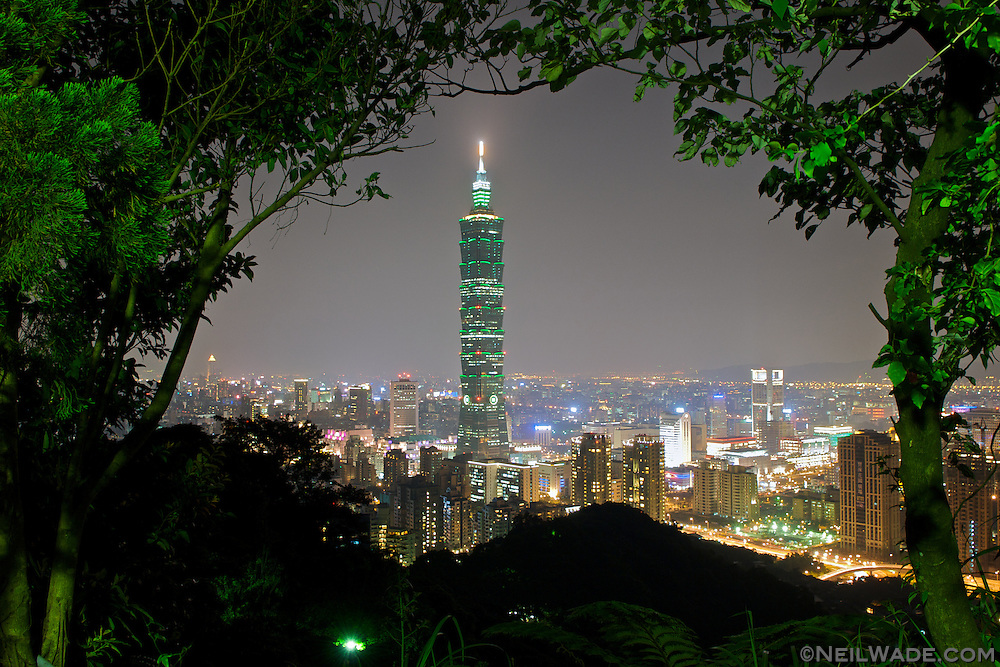 Taipei and Taipei 101 as seen from Elephant Mountain in Taiwan.