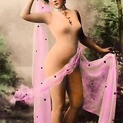 risque woman in a body stocking, circa 1910, Hand-tinted European realphoto postcard By Hero