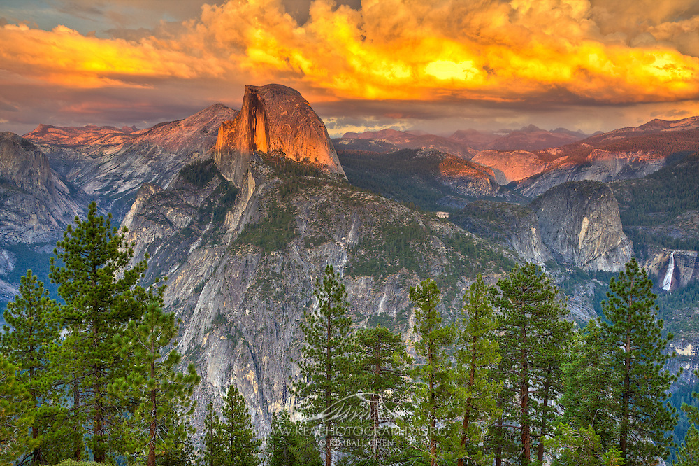 Half Dome basking in a glorious sunset, complete with an the remnants of a glacier-carved valley, at Yosemite National Park.