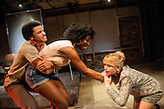 01/11/2012. London, UK. Arcola Studio 2, Dalston, presents: 'but i cd only whisper'.  The world premiere of a fierce and lyrical new work from Chicago. Directed by Nadia Latif and Written by Kristiana Colón. Picture shows Tunji Kasim, Emmanuella Cole & Sian Breckin.