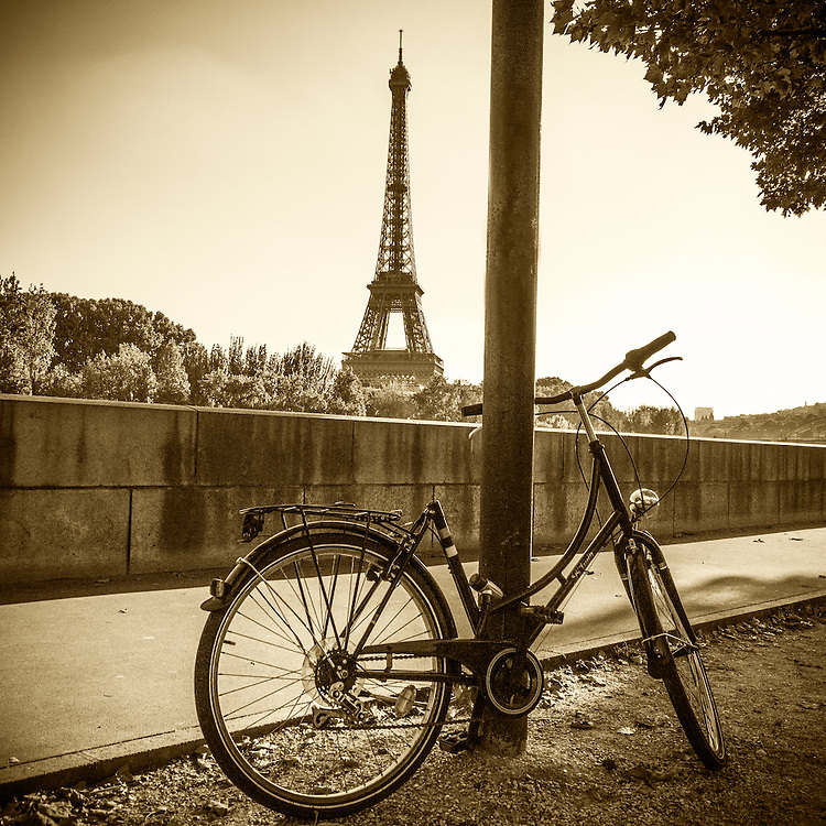 Bicycle And Eiffel Tower Paris Tif Photo Art By David Innes