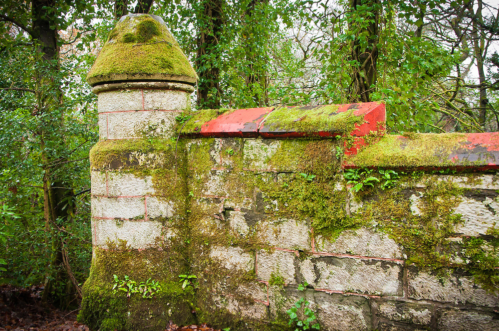 Moss covered stone wall with turret