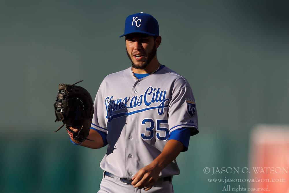 June 14, 2011; Oakland, CA, USA;  Kansas City Royals first baseman Eric Hosmer (35) returns to the dugout before the game against the Oakland Athletics at Oakland-Alameda County Coliseum.  Kansas City defeated Oakland 7-4.