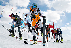 NEWS&GUIDE PHOTO / PRICE CHAMBERS.From left, Jon Brown, Ben Parsons and Cary Smith peel off their skins atop Corbet's Coulior as they transition into the last downhill section of the U.S. Ski Mountaineering National Championship on Saturday at Jackson Hole Mountain Resort.