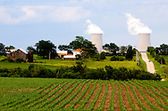 A farmhouse and barn in the shadow of the Byron Nuclear Power Plant, seen here near Mt. Morris, IL.