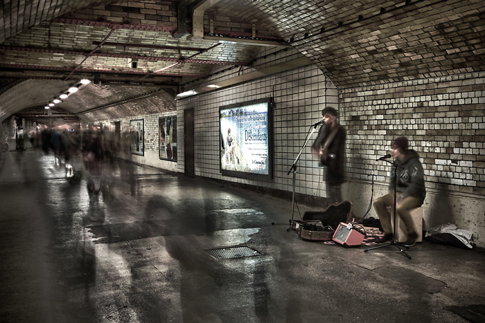 Buskers in the Tube at South Kensington Station London ©David Henderson - All Rights Reserved.