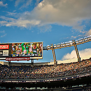 SHOT 9/19/15 6:36:19 PM - Fans in the upper levels of  Sports Authority Field at Mile High cheer on their respective teams during the Rocky Mountain Showdown in Denver, Co. Colorado won the game against Colorado State 27-24 in overtime. (Photo by Marc Piscotty / © 2015)